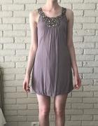 Zara basic sukienka lawendowa z dżetami xs 34
