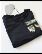 czarna bawełniana koszulka z przyszyfkami s