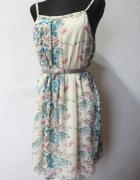 Zwiewna sukienka w kwiaty r S