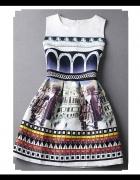 Sukienka rozkloszowana folk wzór aztecki