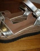 złote sandały na koturnie espadryle 40 skóra natur