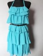 Błękitna sukienka falbany r M