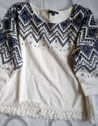 Bluza z frędzlami i motywem aztec