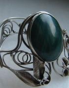 stara olbrzymia bransoleta z malachitem srebro...