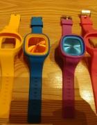 zestaw kolorowych gumowych zegarków ze zmiannymi paskami