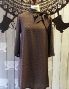 Geometryczna sukienka tunika z wiązaniem