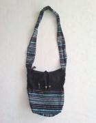 materiałowa dziewczęca torebka worek hipis w paski
