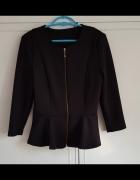 Czarna kurtka marynarka Reserved 42 XL z baskinką baskinka materiał jak neopren