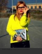 Żółty sweter angora H&M
