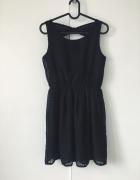 sukienka mała czarna 158 XS S wycięcie na plecach kokarda