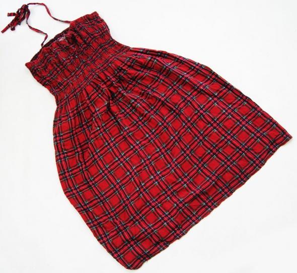 letnia czerwona sukienka w kratkę krata