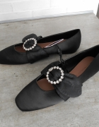 Zara nowe czarne balerinki klamra kryształki paski baleriny