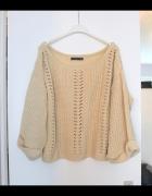 gruby ciepły krótki oversize sweter splot luźny uni beżowy beige
