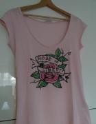 Tshirt jasny róż aplikacja ROSE OF LIBERTY rozm S