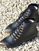BOTKI ZŁOTE za kostke płaskie BLACK czarne 36