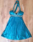 Sukienka plisowana z cekinami wiązana na szyje S...