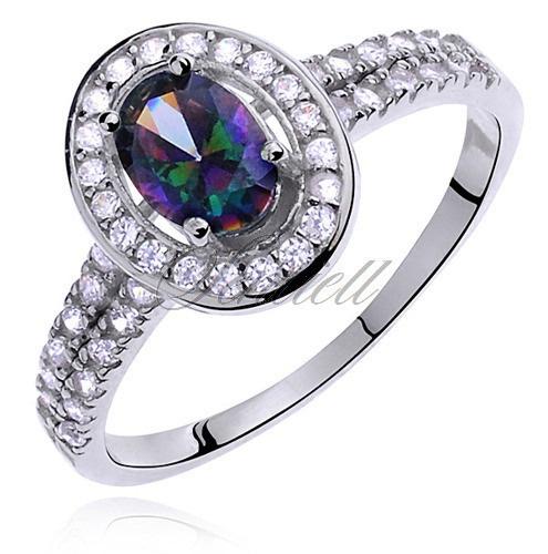 Pierścionek srebrny lub ze stali z wielokolorową lub fioletową lubróżową cyrkonią