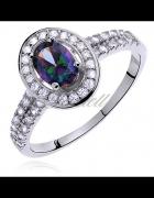 Pierścionek srebrny lub ze stali z wielokolorową lub fioletową ...
