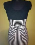 Marynarska sukienka biało czarna
