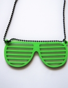 Naszyjnik z okularami nerd SIX neonowy zielony...