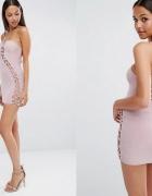 club l sukienka blady fiolet wiązanie 38 m