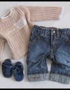 zestaw dla chłopca 62 i 68 jeansy H&M i sweter C&A