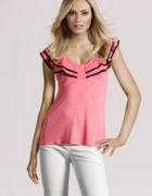 HM bluzka dekolt falbanki różowa falbany