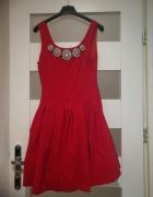 czerwona sukienka M L...