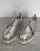Zara nowe srebrne oxford koturny metaliczne