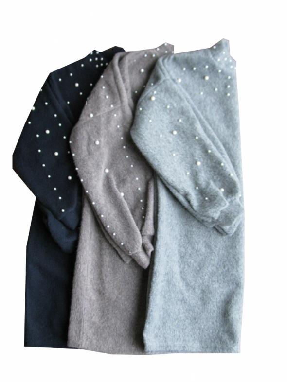 Swetry Hit długi sweter z perłami
