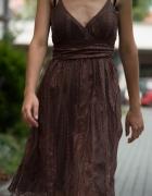 Brązowa sukienka z koronki ML...