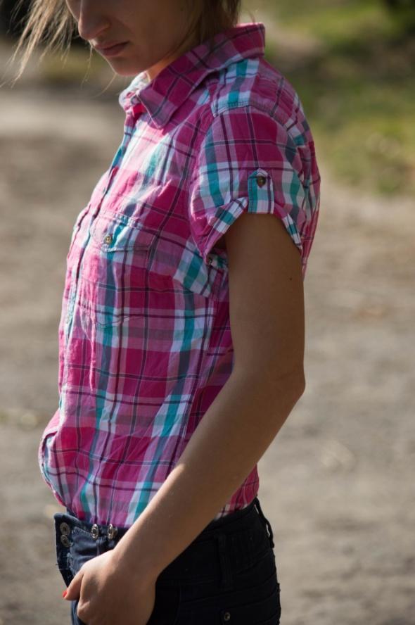 Różowa koszula w kratkę 36 HM w Koszule Szafa.pl  AE9Dm