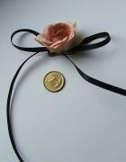 broszka kwiatek róża kokarda hand made