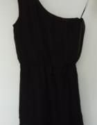 Lekka czarna szyfonowa sukienka na jedno ramie LEFTIES 38