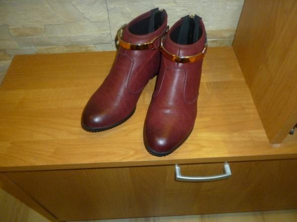Botki Tanio nowe modne bordowe botki