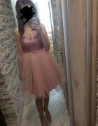 Sukienka balowa pudrowy róż tiulowa...
