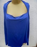 kobaltowa bluzka z długim rękawem...