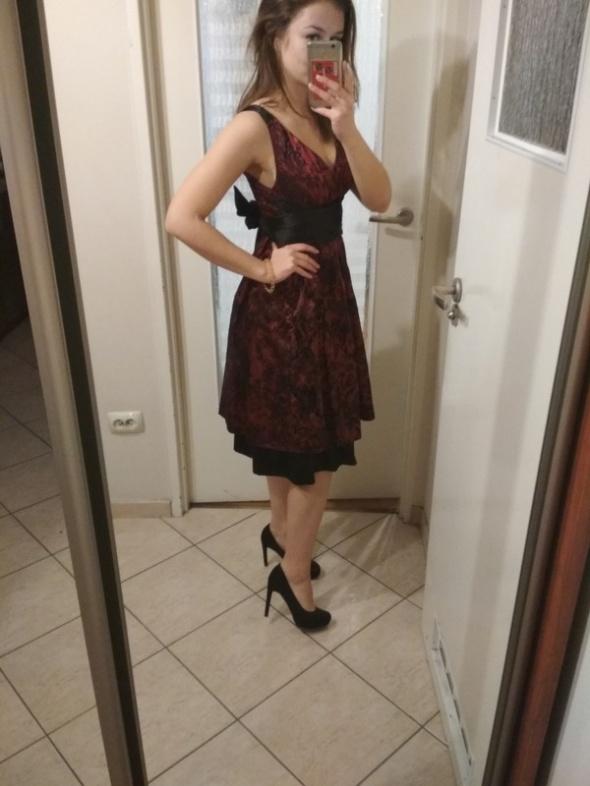 sukienka elegancka za kolano koronka s...