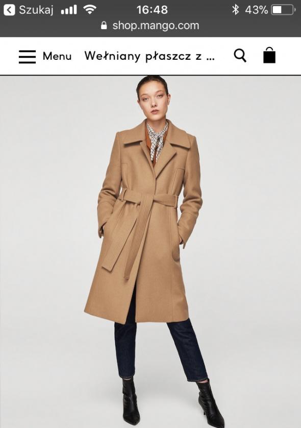 Mango płaszcz wełniany camel...