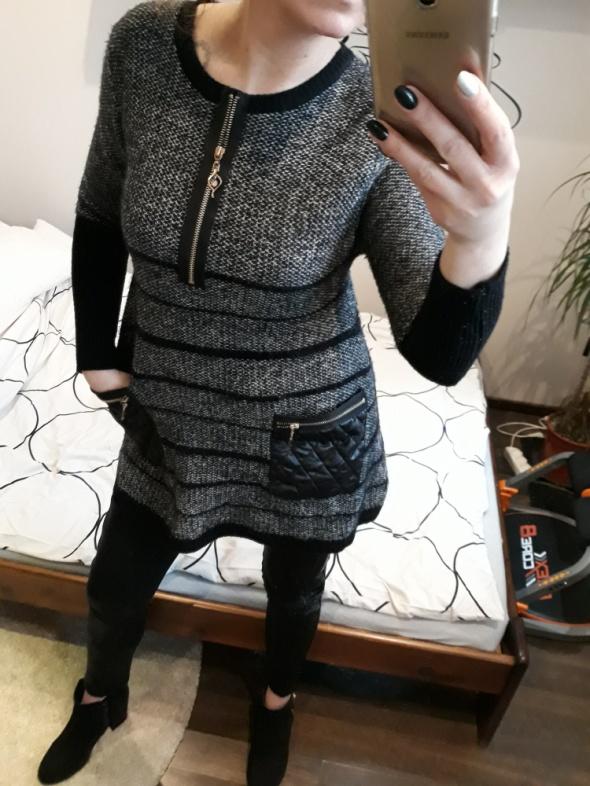 Sweterek skórka zamki uni...