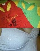 Trzy koszulki top bokserka bluzka na ramionczkach