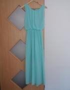 Miętowa sukienka długa z koronką
