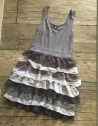 Sukienka szara z falbankami H&M