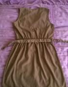 mokka beżowa modna nowa sukienka 38 M