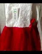 Śliczna sukienka biało czerwona...