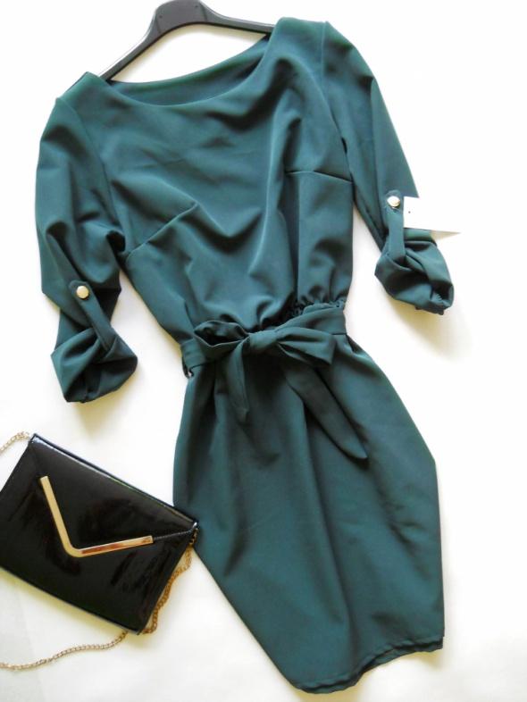 cudo sukienka bordo zieleń