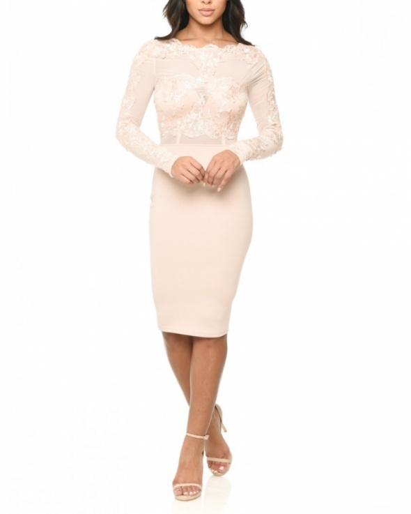 052a7c3699 Koronkowa ołówkowa sukienka midi z siateczką w Suknie i sukienki ...