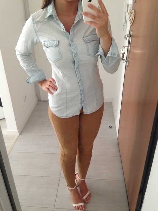 jeansowa koszula srtadivarius sliczna