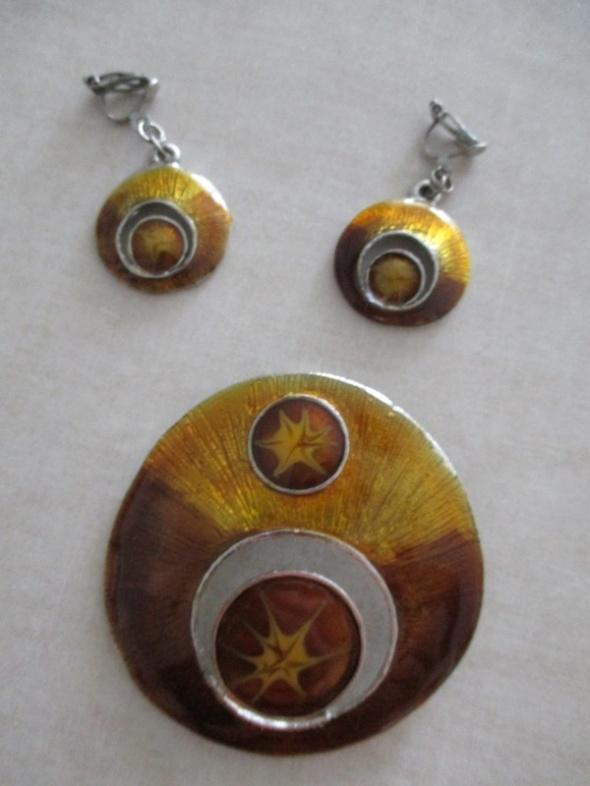 Komplet zestaw biżuterii klipsy wisior