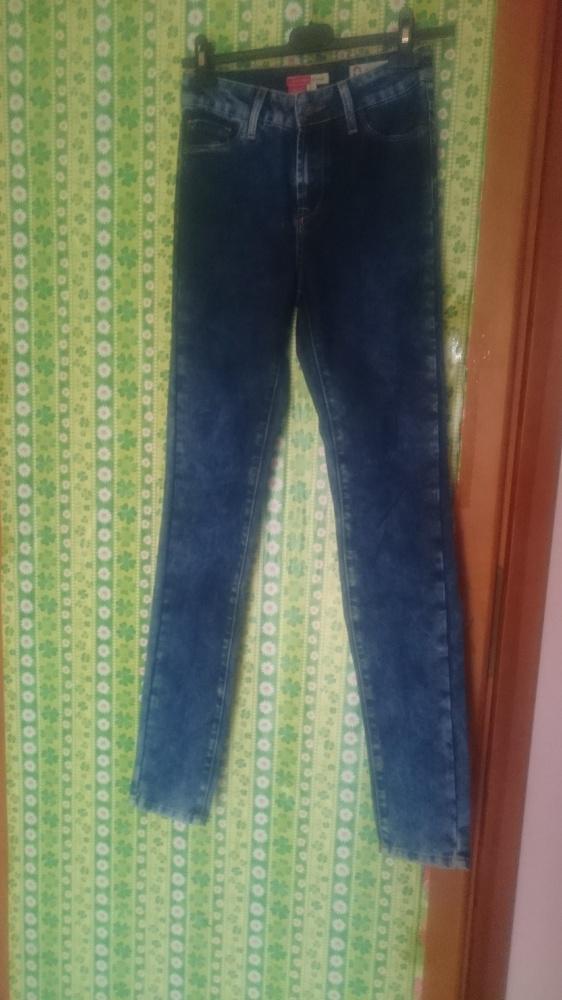 Spodnie jenasy rurki wysoki stan ciemne z przejaśnieniami XS